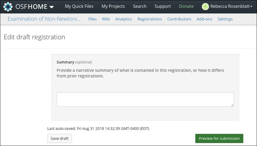 Edit Your Draft Registration Form