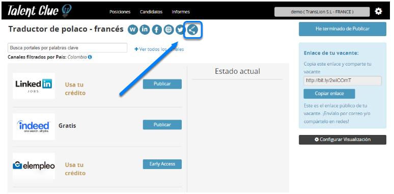 """Pincha en el icono de """"Canales Personalizados"""""""