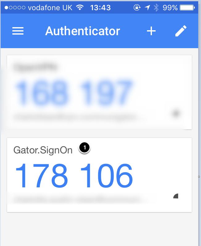 Logging in using Google Authenticator app