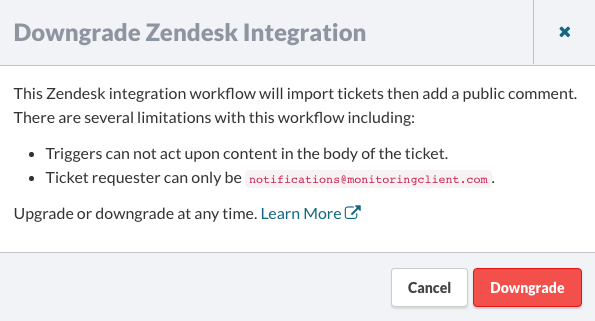 Downgrade Zendesk integration