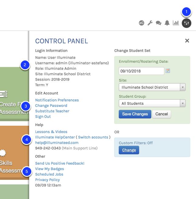 Using the Control Panel – Illuminate Education