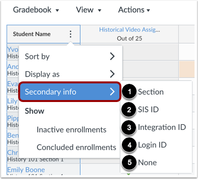 View Secondary Info