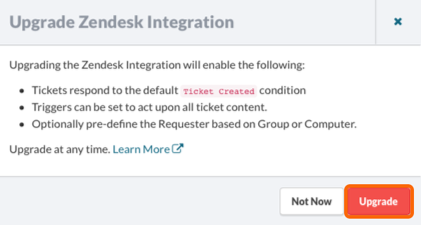 Upgrade Zendesk integration