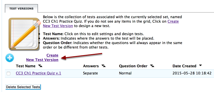 """Click on """"Create New Test Version."""""""