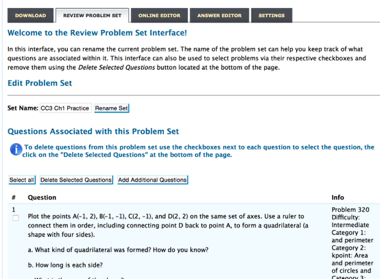 "Click the ""Review Problem Set"" tab."