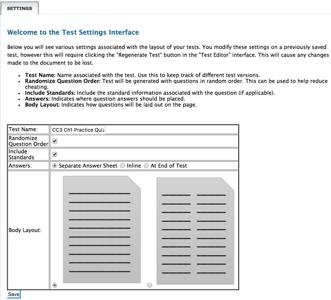 """Creating a new test version goes into """"Settings."""""""