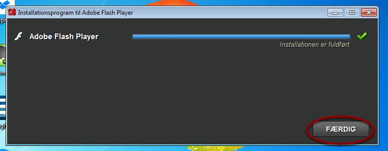 Installationsprogram til Adobe Flash Player