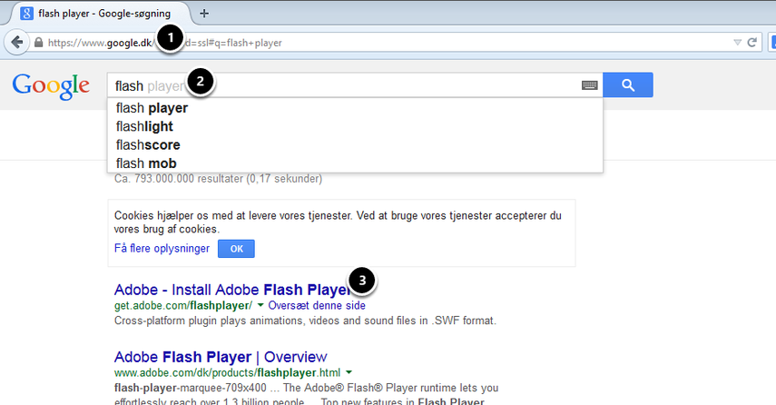 flash player - Google-søgning - Mozilla Firefox