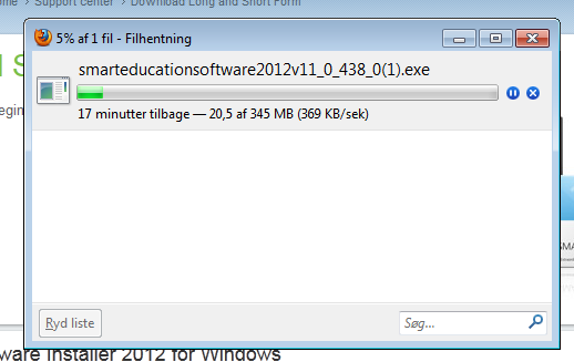 Installationsprogrammet downloades