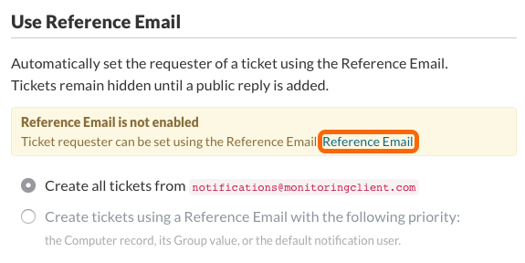 Use Reference Email - Reference Email is not enabled