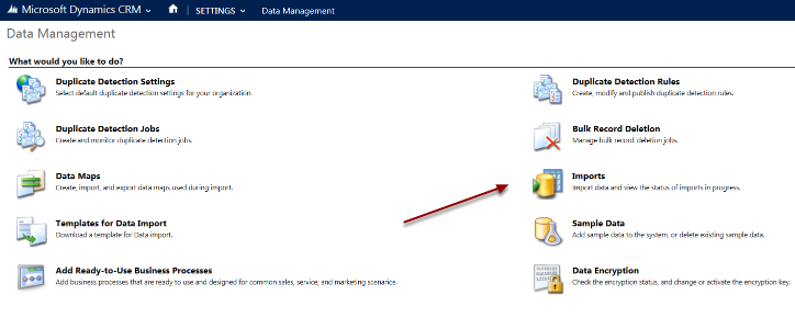 On the data management screen click Imports