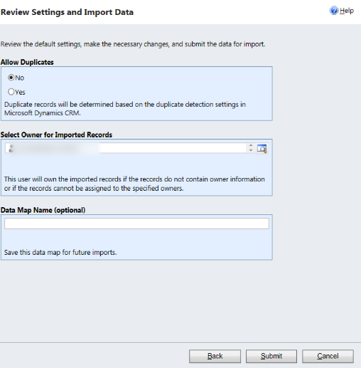 Review Settings and Import Data
