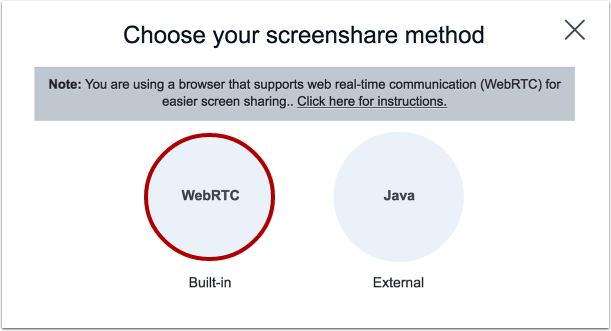 Select WebRTC Screen Share