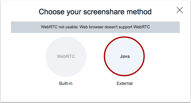 Choose Java Screen Share