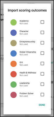 The import scoring outcomes card shows academic, character, entrepreneurship, global citizenship, grit, health and wellness, leadership, and problem solver.