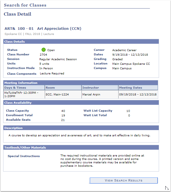 Class Search Detail page