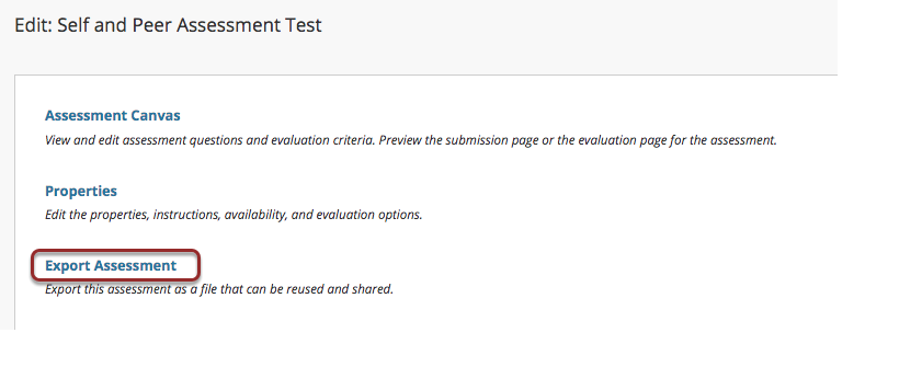 Image of the Edit: Peer Evaluation screen with the Export Assessment option outlined with a red circle.