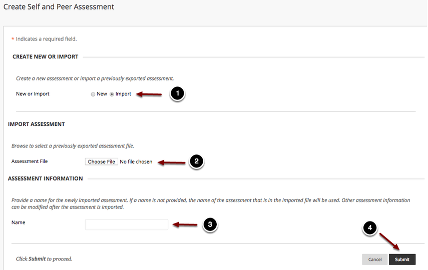 Image of the Create Self and Peer Assessment with the following annotations: 1.Create New or Import: To import an assessment, select the Import option.2.Import Assessment: The screen will then change to show a link for importing an assessment.  To choose a file, click Browse or Choose File (depending on your operating system) and select the assessment file you wish to import.3.Assessment Information: In the field marked Name, enter a name for the assessment.4.When finished, click Submit to import the assessment.
