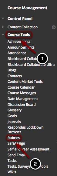 Image of the Control Panel with the following annotations: 1.Click on Course Tools.2.Select Rubrics.