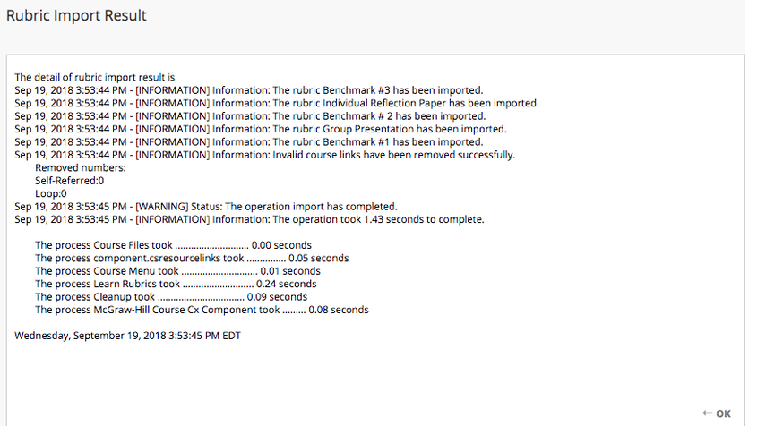 Image of the Rubric Import Result screen with details on a Rubric import