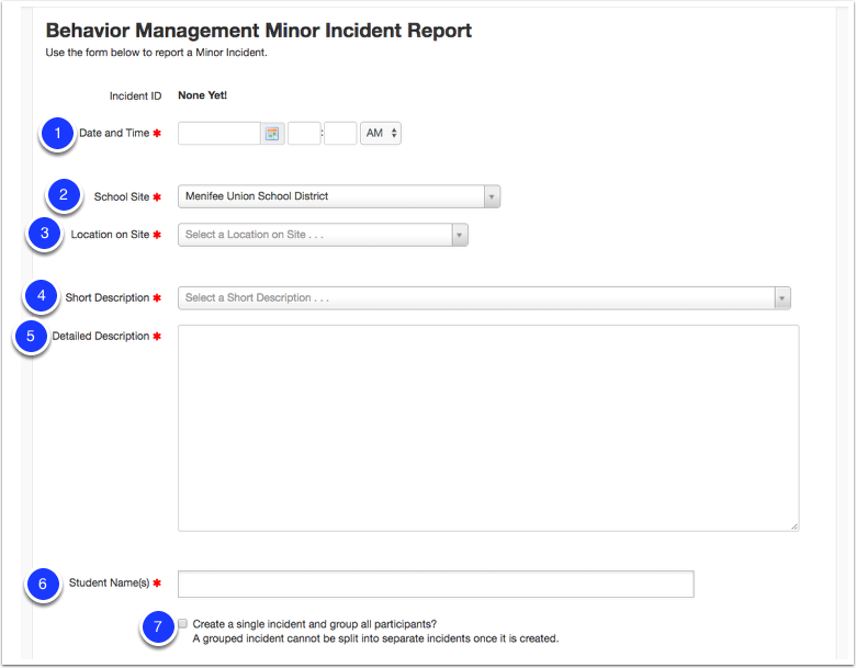 Create a Minor Incident Report