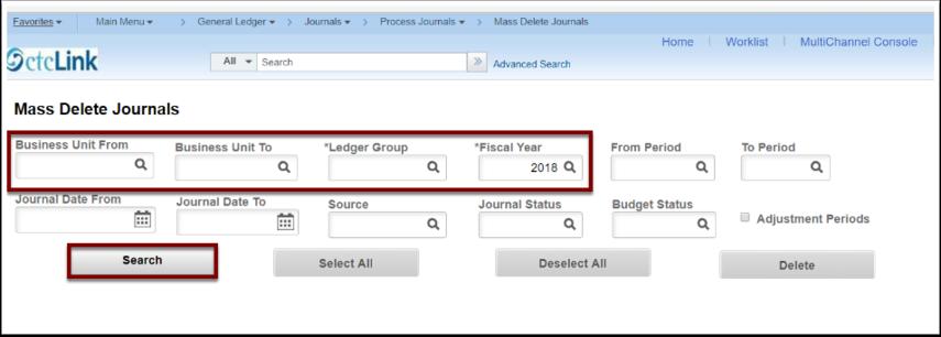 Mass Delete Journals page
