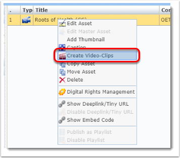 Create Video-Clips is selected.
