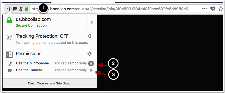 Image showing web address bar and dialog box with the following items: 1.If the camera and microphone have been blocked, click on the lock icon to the left of the address bar.2.Use the microphone: Click the X icon to unblock the microphone3.Use the camera: Click the X icon to unblock the camera