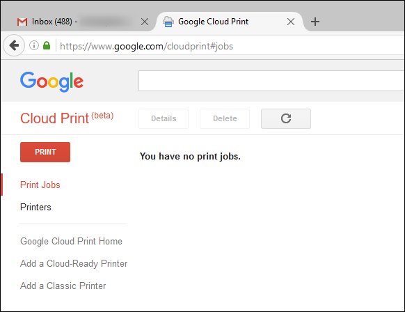 Go to the Cloud Print Dashboard