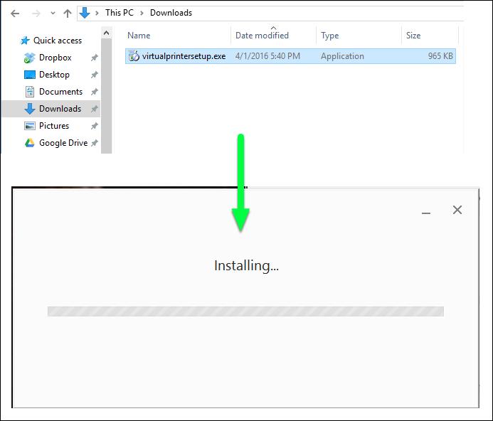 Install virtualprintersetup.exe