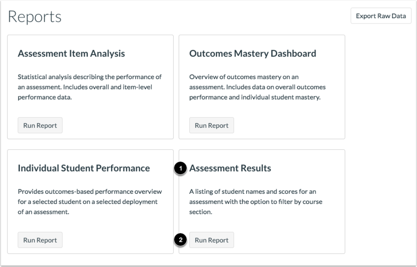 Open Assessment Results