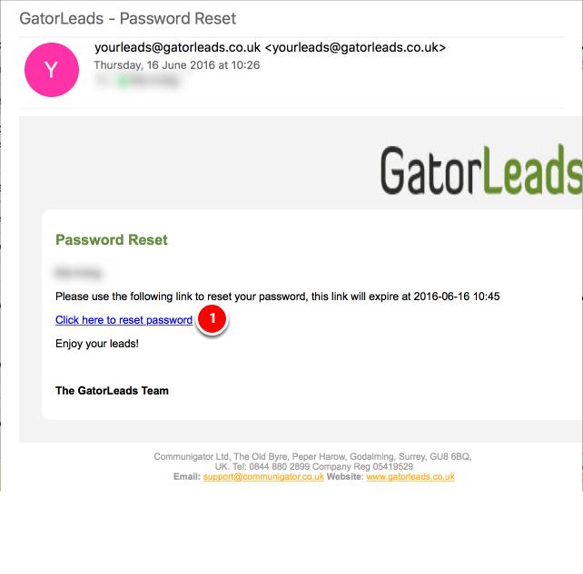 Resetting the password