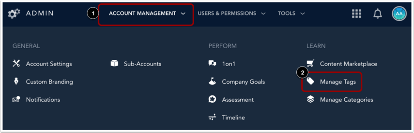 Account management menu