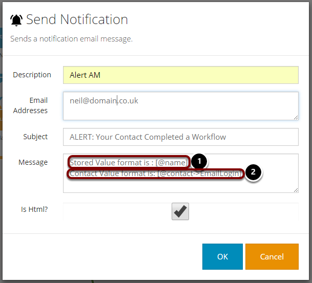 Including Merge Data in Notification Messages