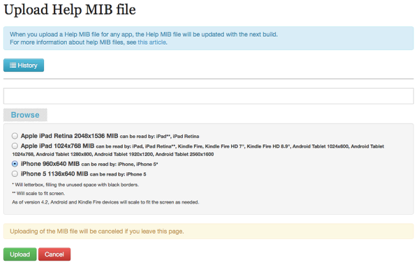 "(Optional) Click on an ""Upload Help MIB file"" link for iPhone or iPhone 5 or iPad."