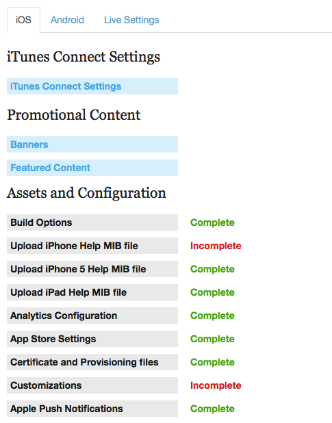 Click on the iOS tab in order to configure settings associated with iOS.