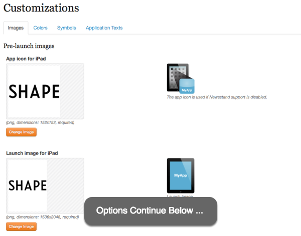 Configure your app customizations.