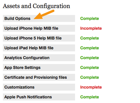 Click on Assets and Configuration > Build Options to specify iOS build settings.