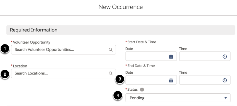 There are only a few fields you need to populate to create a new occurrence