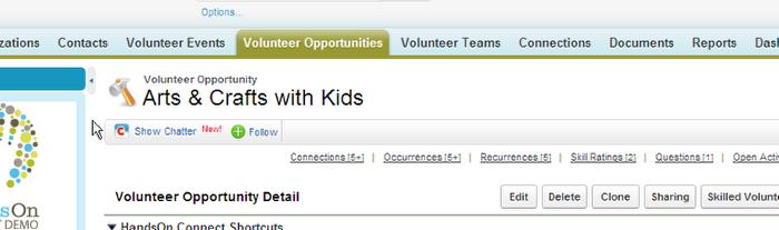Navigate to the Volunteer Opportunities Tab.