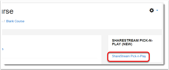 ShareStream Pick-n-Play link is selected