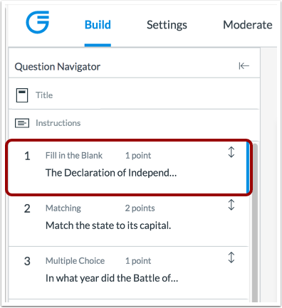 Move with Question Navigator