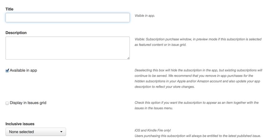 Configure the subscription settings.