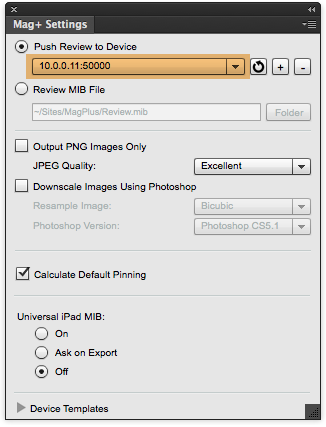 "Click on the ""OK"" button to save this device to the drop-down menu in the Mag+ Settings panel."
