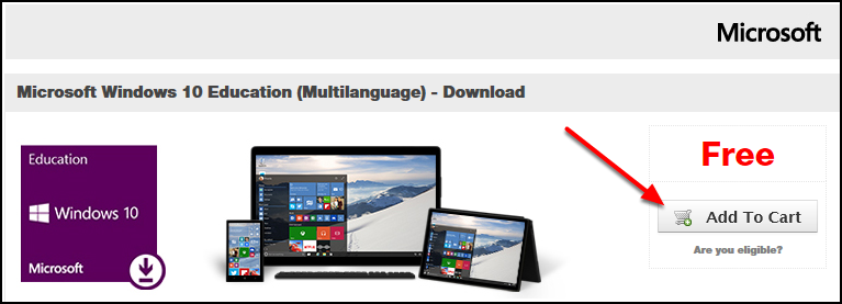 Windows 10 Education add to cart