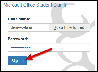 CSUF Microsoft login screen