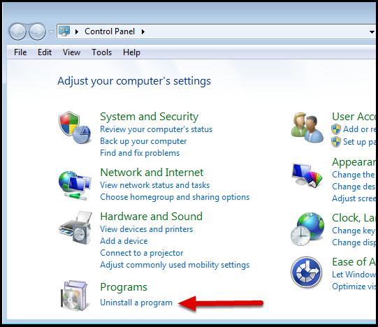 In the Programs menu, select Uninstall a program.