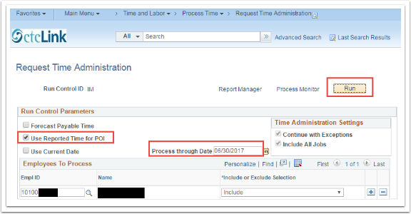 Request Time Administration page