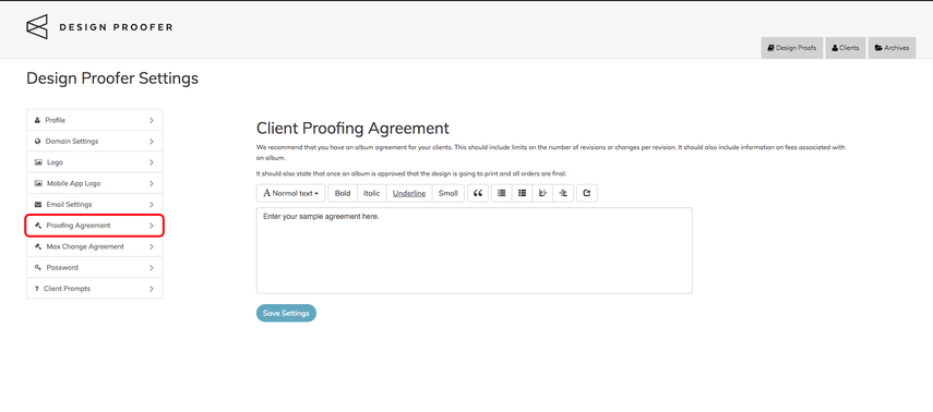 Proofing Agreement