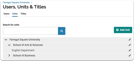 Your organizational hierarchy is displayed on the Units page